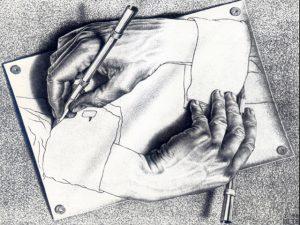 """""""Manos Dibujando"""", Escher (litografía, 1948)"""